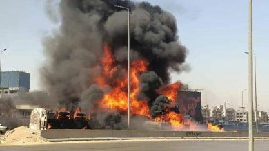 """Photo of """"البترول"""": إزالة تسرب للسولار على """"الدائري"""" بعد تصادم سيارتين"""